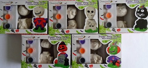 Dovecraft Junior Paint Your Own Halloween Bobble Heads