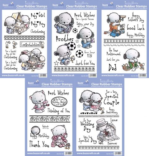 5X BUZZCRAFT Paws Fur A Moment A5 Stamp Stamp Set