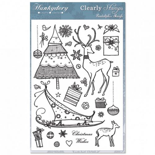 Hunkydory Crafts A5 Clearly Stamps Set Rudolphs Sleigh