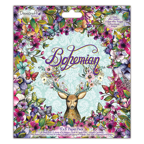 Dovecraft Bohemian 8x8 Paper Pack (FSC) Full Pack 36 Sheets