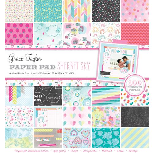 Grace Taylor 100 Sheet 12 x 12 Scrapbook Paper Pad Sherbet Sky