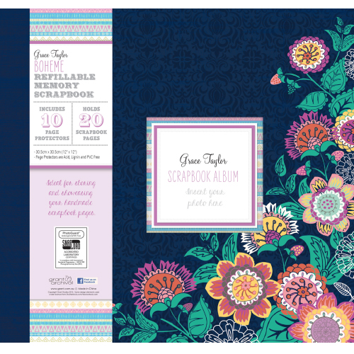 Grace Taylor Scrapbook Album Boheme 12X12 with 10 page protectors