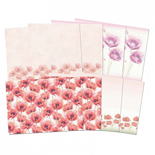 Hunkydory Pretty Poppies Parchment Containing 8 Sheets