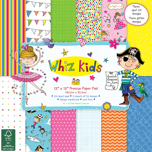 Dovecraft Whiz Kids 12x12 Paper Pack Full Pack 36 Sheets