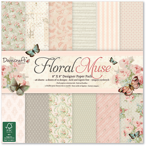 Dovecraft Floral Muse 8x8 Paper Pack Full Pack 48 Sheets