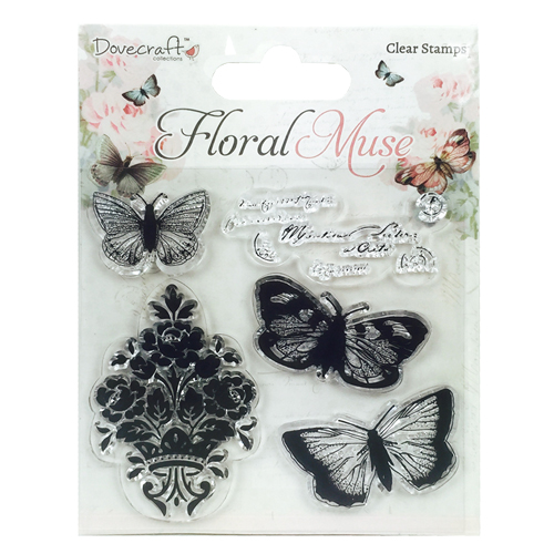 Dovecraft Floral Muse Clear Stamps Butterfly From Trimcraft