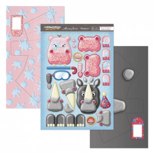 Hunkydory Box Pops Set On Safari Gloria the Hippo and Rambo the Rhino